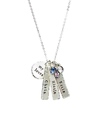 My Loves Personalized Name Necklace - Genuine Sterling Silver By Hannah Design Best Seller! Christmas Gift for Moms, Grandmother, Aunts, Friends