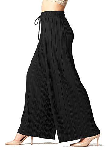 Women's High Waisted Wide-Legged Palazzo Pants in Regular and Plus Sizes - Drawstring Solid Black - Large - X-Large - 902-Black-Plus