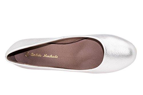 Andres Machado.AM5002BRIDAL.Escarpins Classiques en Soft semelle Beige. Petite et Grandes Pointures du 32/35. 42/45. Pour Femmes. Plata.N