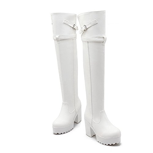 Material Allhqfashion Closed top Round Toe Soft High White High Boots Heels Solid Women's Wq1SnqwH0