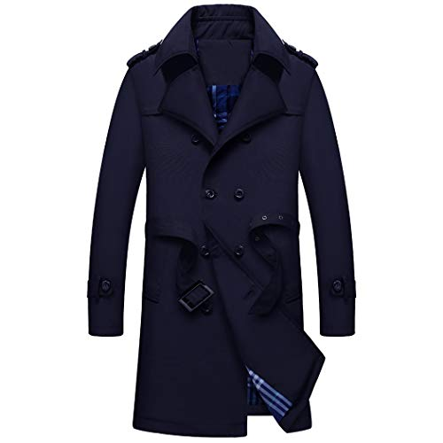 WULFUL Men's Double Breasted Trench Coat Business Casual Windbreaker Mid-Long Jacket with Belt Dark Blue