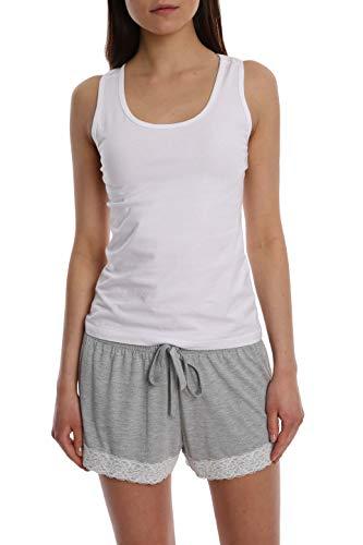 Super Soft Lace Trim Printed Loungewear Short - Grey - Medium ()