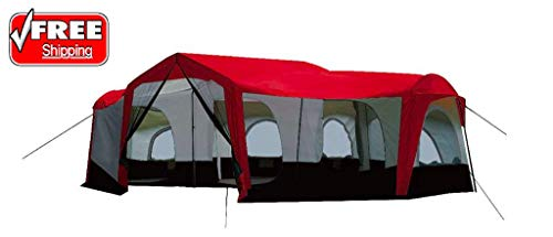 SlimCharger MNSN10346 Season 14 Person Large 25 x 17.5 Ft Family Cabin Tent, Red