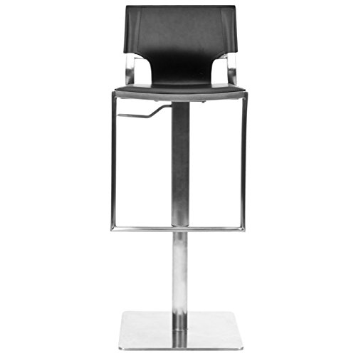 Safavieh Home Collection Armondo Stainless Steel and Black Leather Adjustable Gas Lift 22.4-31.5-inch Bar Stool ()