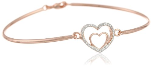 Diamond Heart Fashion Bangle Bracelet (Bronze and Rose Gold Plated Two-Tone Double Open Heart Hinged Bangle Bracelet, 7.25