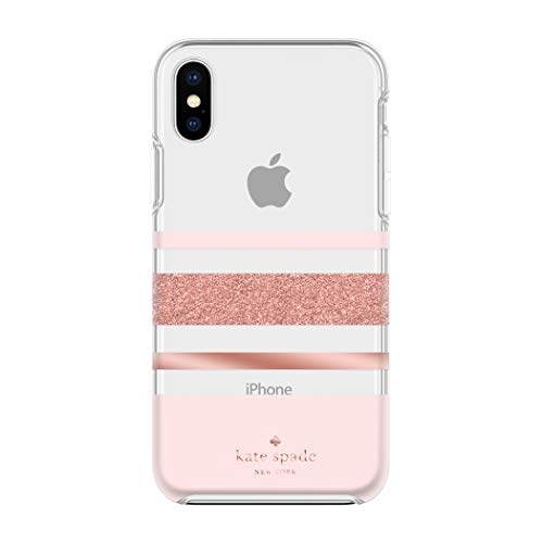 (Kate Spade New York Phone Case | For Apple iPhone X and 2018 iPhone XS | Protective Phone Cases with Slim Design, Drop Protection, and Floral Print - Charlotte Stripe Rose Gold Glitter / Blush / Clear )