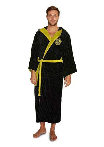 Harry Potter Official Hufflepuff Wizard Fleece Dressing Gown Bathrobe - One Size]()