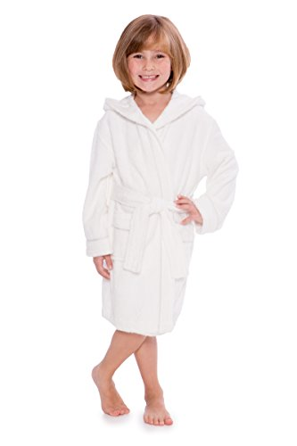 Kid's Hooded Terry Cloth Bathrobe - Cozy Robe by for Kids Texere (Rub-A-Dub, Natural White, Medium) for Granddaughter Grandson KB0101-NWH-M (Terry Cloth Bath Robe Kids)
