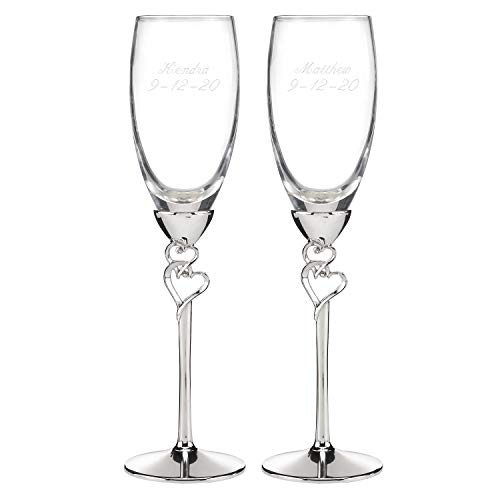 - Entwined Hearts Flutes Set of 2 Personalized Engraved Wedding Accessories Bride & Groom Toasting Glasses