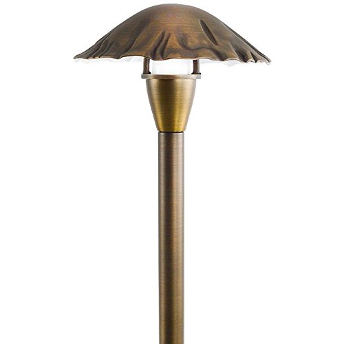 12V / 120V Cast Brass Mushroom Top Pathway Light with Frosted Glass Diffuser - PALD-SH23-FR (Bronze) - Diffuser Cast