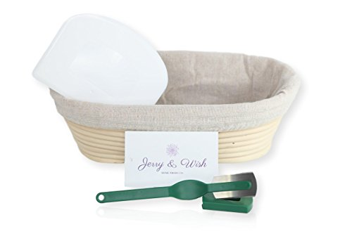 Banneton Proofing Basket - 10 inch Oval Set - Sourdough Bread making for Professional & Home Bakers, with Linen Brotform Liner, Bowl Scraper & Bread Lame