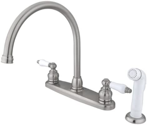Kingston Brass EB728 Vintage Gooseneck Kitchen Faucet with Sprayer, 8-3 4 , Brushed Nickel