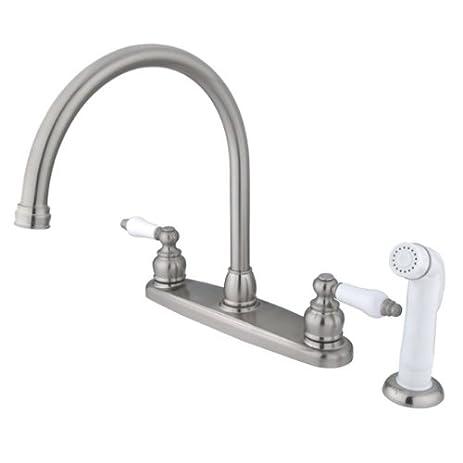 Kingston Brass KB728 Vintage Gooseneck Kitchen Faucet With Sprayer, Satin  Nickel