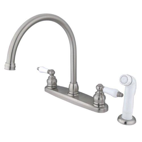 Kingston Brass EB728 Vintage Gooseneck Kitchen Faucet with Sprayer, 8-3/4