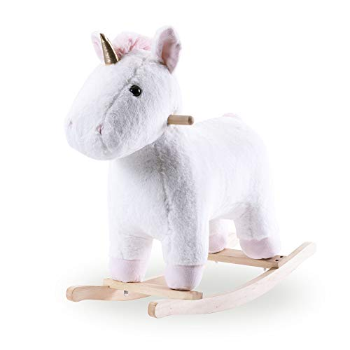 P PURLOVE Unicorn Rocking Horse Toy Plush Ride-On Rocker for Toddlers & Babies Stuffed Animal Rocker Child/Kid Rocking Toy (White Unicorn)