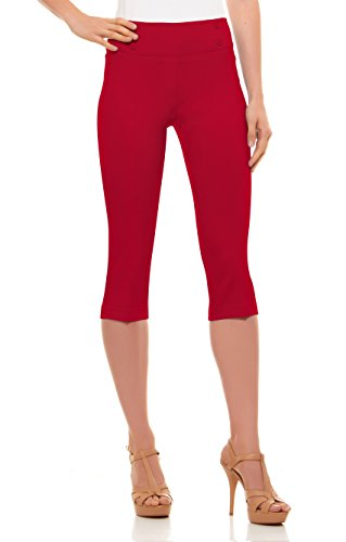 Trouser Style Shorts - Velucci Womens Classic Fit Capri Pants - Comfortable Pull On Style with Detailed Design, Red-XXL