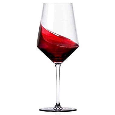 Miko Wine Glasses, Pure Lead Free Crystal, Wine Glass Set Of 6 (Cabernet)