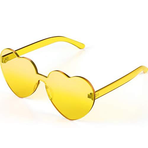 Maxdot Heart Shape Sunglasses Party Sunglasses (Transparent Yellow)