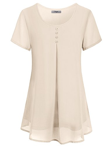 Cestyle Chiffon Blouses for Women Prime,Ladies 2018 Fashion Scoop Neck Short Sleeve Dressy Shirts Girls Summer Double Layer Button Décor Pleated Fronts Woven Tunic Tops Beige Medium