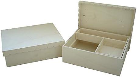 Caja madera para manualidades. Ideal para costura. En madera de chopo en crudo, para pintar.: Amazon.es: Hogar