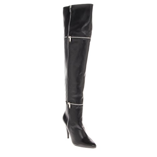 Wrap Around Zipper (Saint Laurent Women's Over Knee Heel Boot with Two Wrap Around Zippers Leather Black EU 38 (US 8))