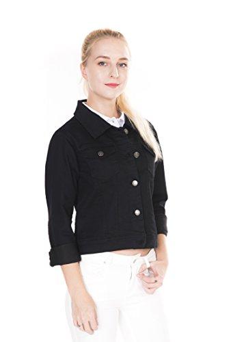 Megan apparel Women's Slim Fit Button Down Black Color Denim Jacket