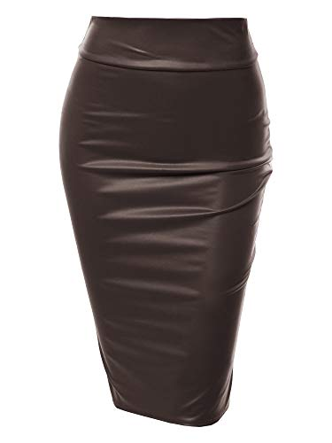 Sexy Casual Faux Leather Fitted Midi Pencil Skirt - Made in USA Dark Brown S