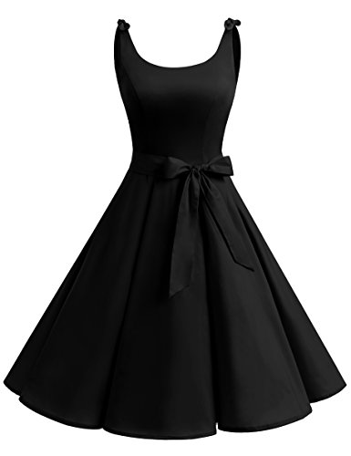 Bowknot Vintage Retro Polka Dot Rockabilly Swing Dress Black S (Polka Dot Cocktail Dresses)