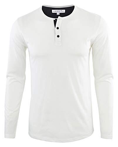 HARBETH Men's Regular Fit Long Sleeve Athletic Henley Shirt Active Jerseys Tee White/Navy XL