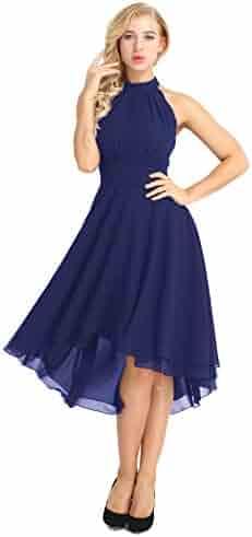 ee8fe91df62 Yeahdor Women s Knee Length Country Bridesmaid Dresses Western Wedding Guest  Asymmetrical High Low Chiffon Dress
