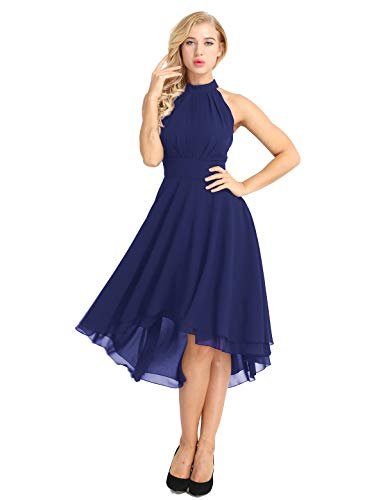(ACSUSS Women's Sleeveless Halter Neck Bridesmaid Dress High Low Evening Prom Flare Dresses Navy Blue 4)