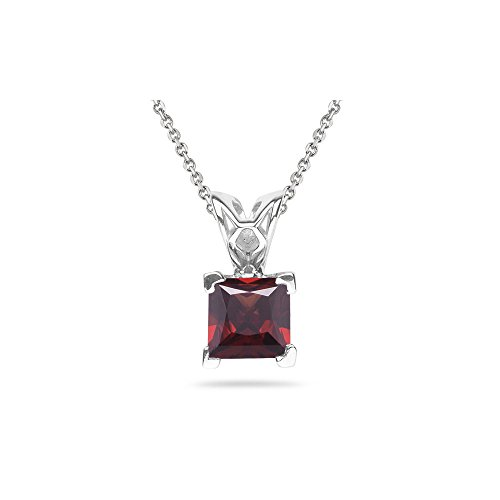 (0.95-1.50 Cts Garnet Scroll Pendant in 14K White Gold )