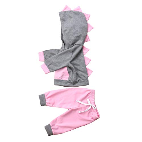 Newborn Baby Girls Spring Clothes Set Kids Long Sleeve 3D Dinosaur Hooded Tops + Long Pants Outfits (Pink+Grey, 6-12 Months)