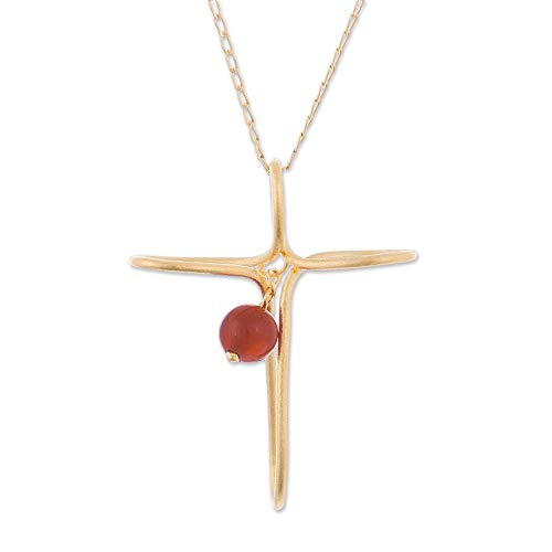 NOVICA Carnelian 24k Yellow Gold Plated .925 Silver Pendant Necklace, 16.75