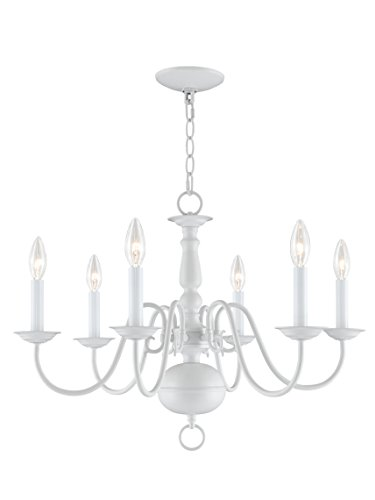 Livex Lighting 5006-03 Williamsburg 6-Light Chandelier, White