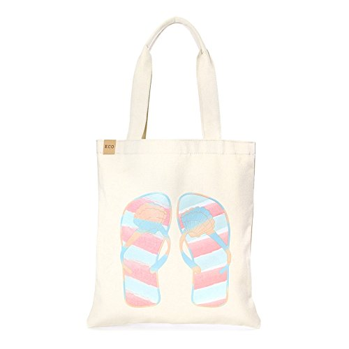Me Plus Eco Cotton Canvas Stylish Printed Fashion Shopping and Travel Tote Bag (Shell Flip Flops-2)