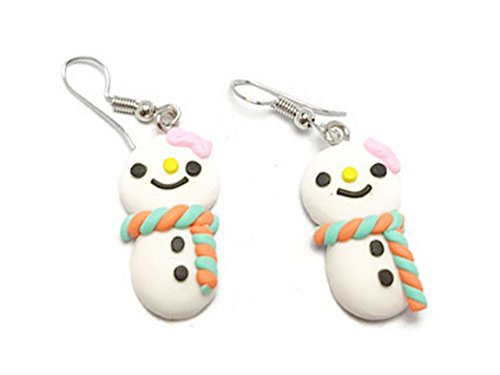 CHADADA Cute Handmade Mini Cake Polymer Clay Dangle Earrings, Snowman (Orange, Mint Green) EH53