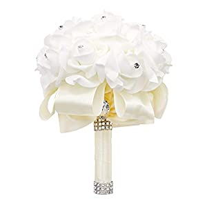123 TEST Artificial Flowers Bride Holding Bouquet Handmade Silk Roses Flowers for Wedding Engagement Valentine's Day Church Party and Home Hotel Office Garden Craft Art Decoration(Milk White) 1