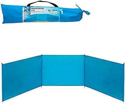Aktive 53442 Paravientos de playa plegable, Azul, 200 x 75 cm ...