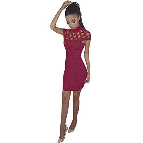 Rojo Maroon para Mujer Mangas It Live Ajustado Vestido Style It Sin zaqFR