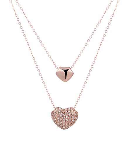 Layered Necklace with Crystal Heart Pendant Jewelry Gifts (Rose-Gold-Tone) - Crystal Gold Tone Heart