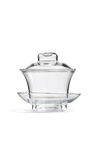 Glass Gaiwan Teacup With Lid Saucer Gongfu Brewing Cup No Handle Tea Mug, 4 fl oz (Clear)