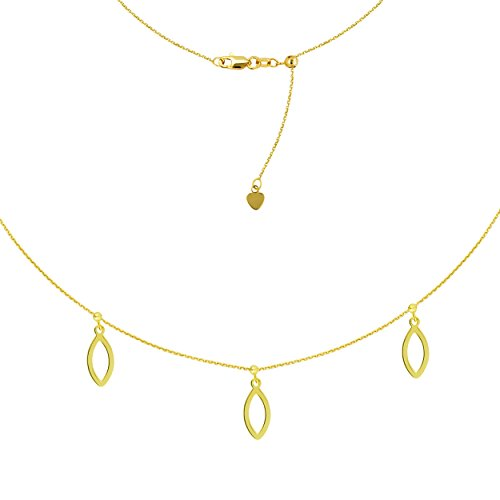 14k Marquise Necklace - Triple Dangle Marquise Charm Choker 14k Yellow Gold Necklace, 16