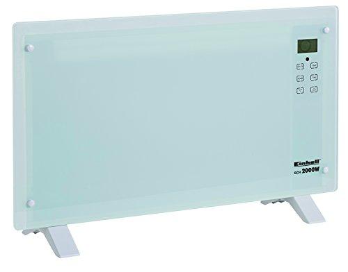Einhell Glaskonvektor Heizung GCH 2000 W (2000 Watt, 2 Heizstufen, LCD-Display, Touchscreen, Timer, Fernbedienung, modernes Design, Stand- oder Wandgerät) weiß