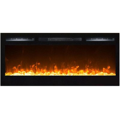 Gibson Living GL2036CC Madison 36 Inch Crystal Recessed Wall Mounted Electric Fireplace