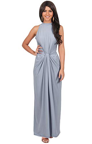 KOH KOH Plus Size Womens Long Sleeveless Sexy Vintage Cocktail Slimming Party Evening Summer Sun Prom Bridesmaid Wedding Guest Sundress Gown Gowns Maxi Dress Dresses, Gray/Grey 2XL 18-20