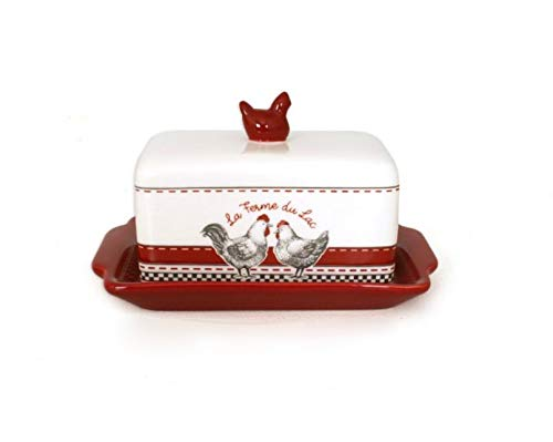 Hen Covered Dish (French Inspired Ceramic Butter Dish with Cover, La Ferme de Lac (The Lake Farm))