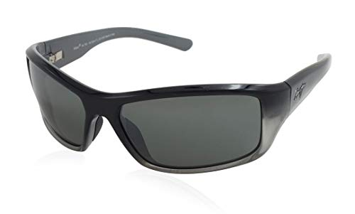 Maui Jim Barrier Reef 792-14C | Polarized Black with Silver and Grey Wrap Frame Sunglasses, Neutral Lenses, with with Patented PolarizedPlus2 Lens Technology