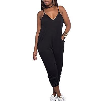 Deloreva Women Casual Jumpsuit Sleeveless Strap V Neck One Piece Romper Harem Pants Playsuit Overalls: Clothing