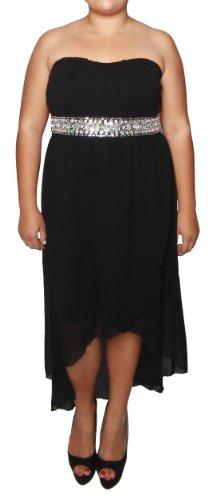 Libian Jr Plus Size High Low Chiffon Tube Dress with Sparkle Trim (1X, Black)